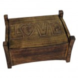 Mango Wood Love Design Jewellery Trinket Box