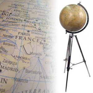 Large Globe On Nickel Stand