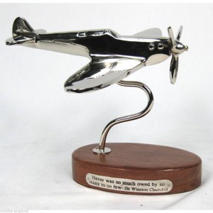 Nickel Spitfire On Wooden Base - Never was so much owed by so many - Churchill