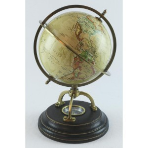 World Globe On Wooden Base 22cm With Compass