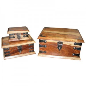 Sheesham Wood Boxes (Rectangular) Natural Finish - Set/3
