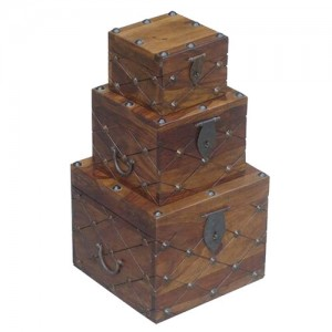 Acacia Lisbon Metal Button Cube Boxes - Set/3