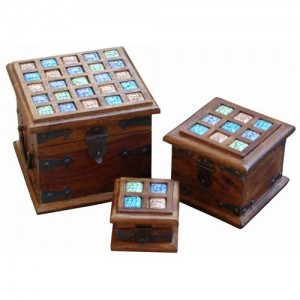 Thakat Trinket Boxes with Glass Inserts - Set/3