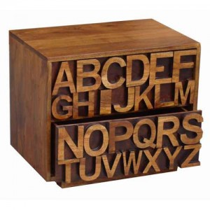 Acacia Lisbon Alphabet Bedside 2 Drawer Chest Cabinet