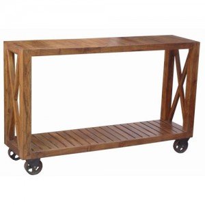 Acacia Lisbon Console Table On Wheels