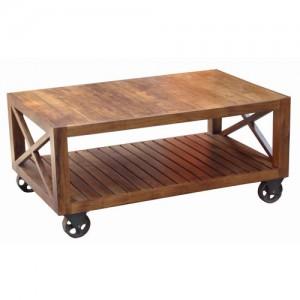 Acacia Lisbon Coffee Table On Wheels