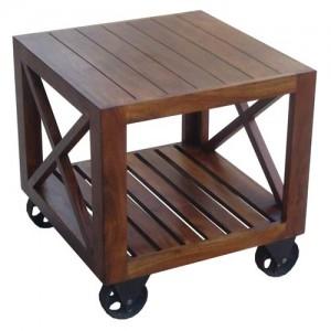 Acacia Lisbon Side Table On Wheels