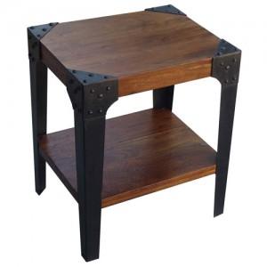 Acacia Lisbon Iron Leg Side Table