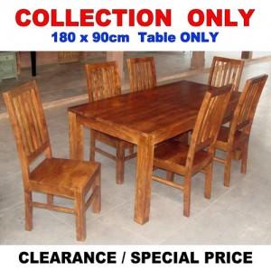 Acacia Lisbon Dining Table 180x90cm + 6 Chairs