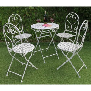 Flower Metal Patio Table & 4 Folding Chairs Set