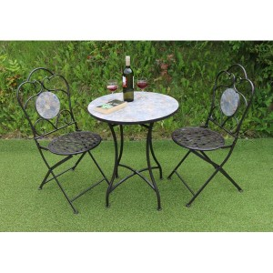 Mosaic Patio Table & 2 Folding Chairs Set