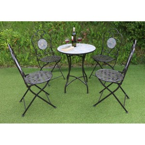 Mosaic Patio Table & 4 Folding Chairs Set