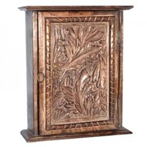 Mango Wood Key Box Leaf Design