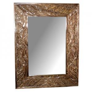 """Mango Wood Leaf Design Carved Mirror 25"""" x 19"""""""