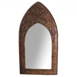 Mango Wood Arched Gothic Mirror Leaf Design (Large)