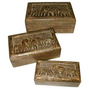 Mango Wood Elephant Design Trinket Jewellery Boxes