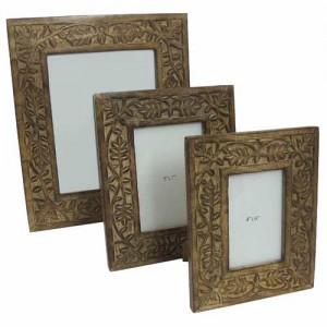 Mango Wood Leaf Design Photo Frames - Set/3
