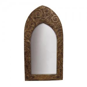 "Mango Wood Arched Gothic Mirror Tree of Life Design - 24""x12"""
