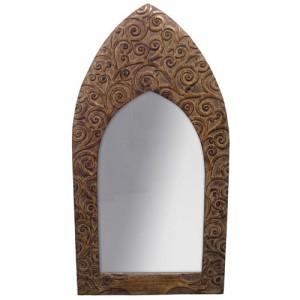 "Mango Wood Arched Gothic Mirror Tree of Life Design - 36""x19"""