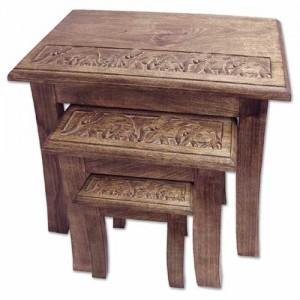 Mango Wood Elephant Design Nest Of Tables