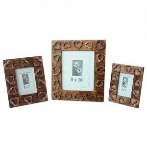 Mango Wood Heart Design Photo Frames - Set/3