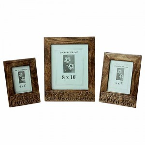Mango Wood Elephant Design Photo Frames Set/3