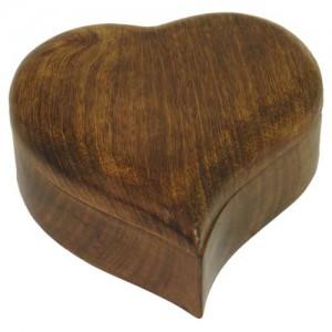 Mango Wood Heart Shaped Trinket Box