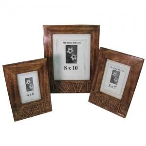 Mango Wood LOVE Design Photo Frames - Set/3