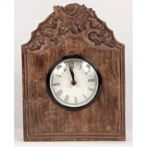 Mango Wood Wall Clock - Butterfly & Flower Design