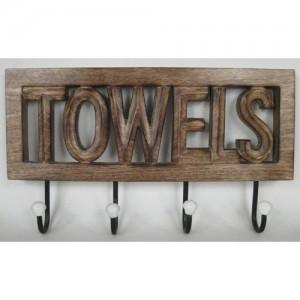 Mango Wood Wall Hooks 'Towels'
