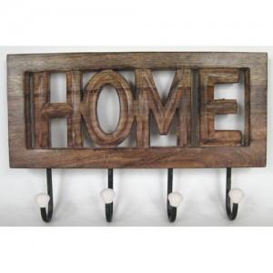 Mango Wood Wall Hooks 'HOME'