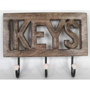 Mango Wood Wall Hooks 'Keys'