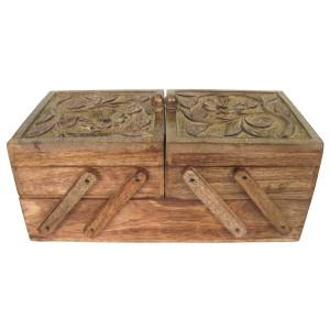Mango Wood Flexible Sewing/Storage Box Flower Design
