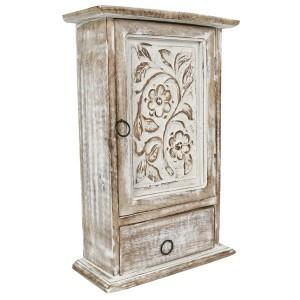 Mango Wood Key Box with Drawer Flower Design Burnt White Finish