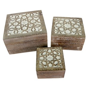 Mango Wood Star Design Set/3 Square Boxes - Burnt White Finish