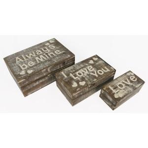 Mango Wood Always Be Mine Design Trinket Jewellery Boxes - Set/3