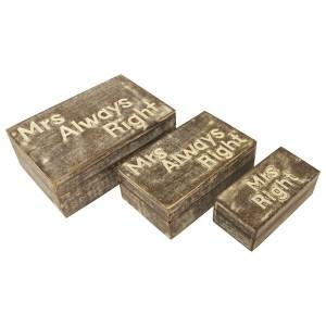 Mango Wood Mrs Always Right Trinket Jewellery Decorative Boxes