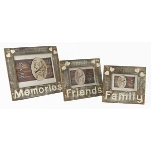 Mango Wood Memories Friends Family Design Photo Frames - Set/3