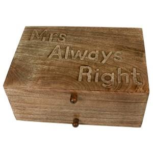 Mango Wood Mrs Always Right Vanity Jewellery Box