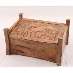 Mango Wood Elephant Design Jewellery Trinket Box