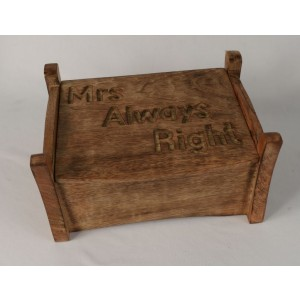 Mango Wood Mrs Always Right Jewellery Trinket Box
