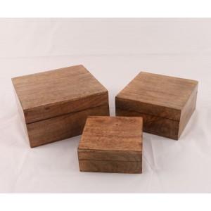 Mango Wood Square Trinket Jewellery Boxes - Set/3