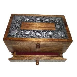Mango Wood Metal Overlay Vanity Jewellery Box