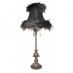 Pewter Lamp Black Feather Shade