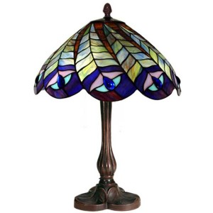 Peacock Tiffany Table Lamp - 43cm