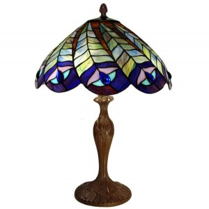 Peacock Tiffany Table Lamp - 58cm