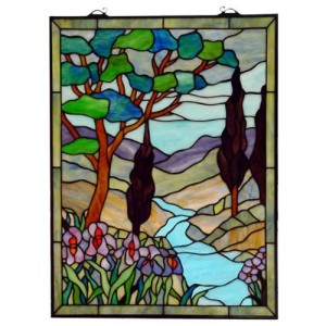 Scenic Tiffany Style Hanging Window Panel
