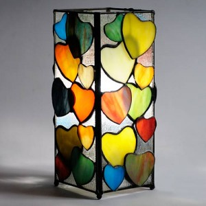 Hearts Design Square Tiffany Table Lamp 27.5cm + Free Bulb
