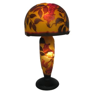 Galle Style Art Nouveau Table Lamp Red Trumpet Flower Design