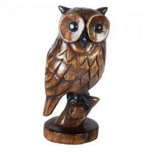 Acacia Wood Owl on Perch - 30cm